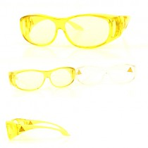 Safety Glasses - Fit Over Shields - Clear And Yellow Assorted - Fit Over Safety Glasses - 12 Pair For $24.00