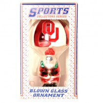Oklahoma Sooners Ornaments - Parachute Santa Blown Glass Style - 12 For $24.00
