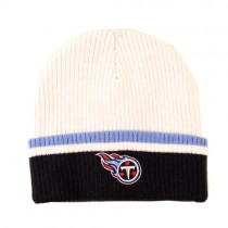 Tennessee Titans Knits - White With Ribbed Blue.Light Blue CUFFED - Sideline Beanies - $7.50 Each