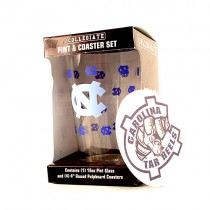 UNC Tarheels Glassware - 16OZ Glass Pint With Coaster Set - (Pattern May Be Different Then Pictured) 12 For $54.00