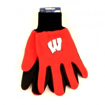 Wisconsin Badgers Gloves - 2Tone Red.Black - WHITE W LOGO - $3.50 Per Pair