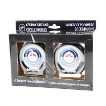 Winnipeg Jets Salt And Pepper Shaker Sets - Ceramic Full Size Hockey Puck Style - 2 Sets For $10.00
