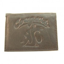 Washington State Cougars Wallets - Black Tri-Fold - Leather Wallets - 12 For $84.00