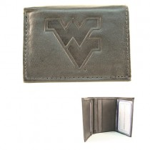 West Virginia Wallets - Black Tri-Fold Leather Wallets - 12 Wallets For $84.00