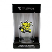 Wichita State Shockers - 16OZ Glass Pint With 4Pack Coaster Set - 2 Sets For $10.00