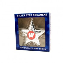 Wisconsin Badgers Ornaments - Silver Star Style - 12 For $30.00