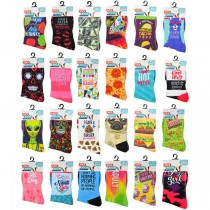 Wholesale Socks - Assorted Style Novelty Socks - One Size Fits All - 96 Pair For $144.00